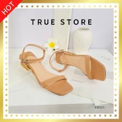 Sandal cao gót quai mảnh cao cấp mũi vuông quai ngang phối dây đế nhọn cao 7cm màu nâu cute  True Store  EB022