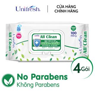 Combo 4 gói khăn ướt Unifresh All Clean - Khăn ướt trẻ em (100 miếng gói) - 4WTPAC100 thumbnail