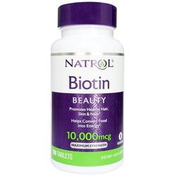 Viên Uống Giảm Rụng, Kích Thích Mọc Tóc Natrol Biotin 10000 mcg - Viên Uống Đep Da, Tóc và Móng - 100 Viên