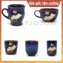 Cốc ly sứ men hỏa biến xanh đá - Uống trà xanh, cafe, capuchino - 20 dáng khác nhau - Gốm sứ Bát tràng.
