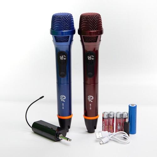 [ TẶNG 1 JACK CHUYỂN ] Micro Đôi Karaoke cầm tay MV-08 – Micro Không Dây MV 01 (02 Mic) – Bảo Hành Chính Hãng 12 Tháng