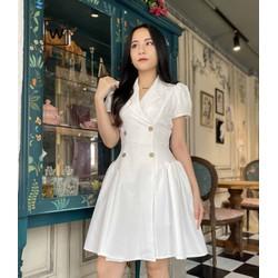 [HÀNG CAO CẤP] Đầm vest trắng đi tiệc cưới, dạo phố, đi chơi, đi làm xinh xắn, sang trọng Thời trang Lux W
