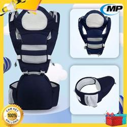 [Mẫu mới - ĐỊU ĐA TƯ THẾ] Địu em bé có đỡ đầu, có bệ (ghế) ngồi giúp chống đau mỏi cơ cho bé, đai điệu trẻ em đa chức năng cao cấp