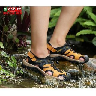 Dép Sandal Bít Mũi Outdoor Màu Nâu Vàng Big Size Men - DSBM2103 thumbnail