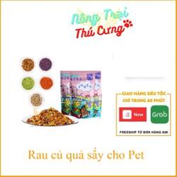 Rau củ sấy khô cho chó mèo (Khoai, bắp cải, bí đỏ, cà rốt, bông cải) dùng trộn cơm hoặc hạt