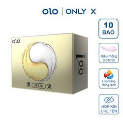 Bao cao su OLO Zero One Lửa Băng nóng lạnh hòa quyện siêu mỏng 0.01mm nhiều gel bôi trơn HA gốc nước màu vàng Hộp 10 bcs