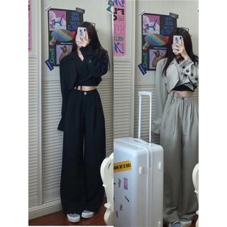 Set áo khoác blazer croptop kiểu + quần tây ống rộng cá tính phong cách ulzzang Hàn Quốc - SAQ001 thumbnail
