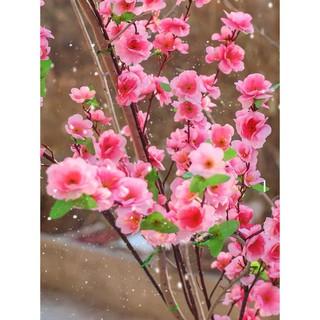 Cành hoa mai đào giả trang trí không gian tết trang trí nhà cửa để bàn - 5773767511 thumbnail