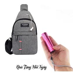 Túi đeo chéo nam fashion + Tặng đèn pin siêu sáng