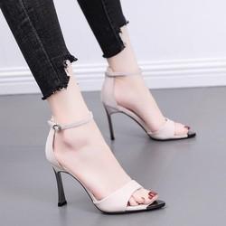 (Bảo hành 12 tháng) Giày sandal cao gót nữ quai ngang phối mũi sắt gót kim loại - Giày cao gót nữ 9cm - Giày nữ da mềm 2 màu Kem và Xanh biển - Linus LN301