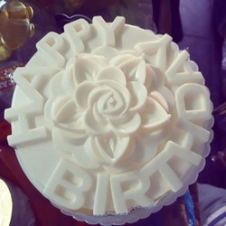 khuôn rau câu ép xôi hình hoa hồng Happy birthday 20cm nhựa cao cấp Vĩnh Trường