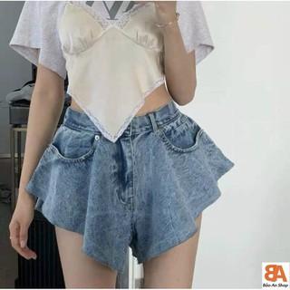 Quần jeans đùi loe kiểu nữ chất vải dày dặn có 2 màu 3 Size S M L - 031 thumbnail