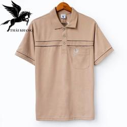 áo thun nam tay ngắn trung niên vải cotton dày mềm mát loại áo thun nam có cổ có túi Vitin