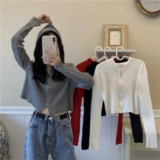 Áo len dài tay có mũ dạng hoodie hai khoá kéo độc đáo, áo khoác mỏng croptop xuân hè - ATD019 thumbnail
