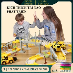 Đồ chơi trẻ em phát triển trí tuệ, đồ chơi lắp ghép đường ray ô tô, tàu hỏa nhiều chi tiết cho bé