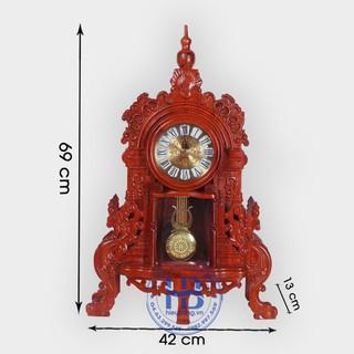 Đồng hồ để bàn gỗ hương quả lắc cao 71cm ngang 45cm - 9125758685 thumbnail