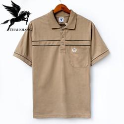 Áo thun nam có cổ trung niên vải cotton xịn loại áo thun cho người lớn tuổi có túi Vitin