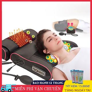 Gối massage hồng ngoại 16 bi, tr-ị liệu cổ, vai, gáy, cột sống lưng chất liệu da, vải chống thấm nước - 16bi thumbnail