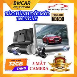 Camera hành trình ô tô 3 mắt X005 4 inch fullHD 1080p,camera sau chống nước-BM31 - BẢO HÀNH 6 THÁNG