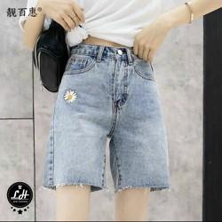 Quần jean ngố nữ lưng cao ống rộng cao cấp in hoa cúc túi màu xanh nhạt cực đẹp MS 141
