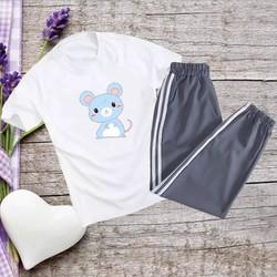 Sét Bộ Đồ Thời Trang Quần Áo Nữ Đón Hè Siêu Xinh Mặc Đi Chơi, Áo Phông Cotton In 3D Hoạt Hình Cartoon Mèo Xanh Kèm Quần Thun Bo Chun Gấu Phong Cách