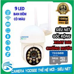 Camera Ngoài Trời PTZ LOẠI MINI Xoay 360 Chống Nước YooSee Full HD 1080P 8 Led Ban Đêm Trợ Sáng Đàm Thoại 2 Chiều Kèm Thẻ Nhớ 64gb