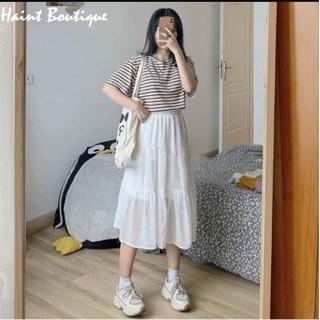 Chân váy xòe 2 tầng cạp chun dáng dài Haint Boutique vải voan 2 lớp freesize xinh xắn thoải mái cv01 - cv01. thumbnail