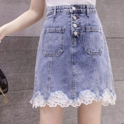 [ĐẸP ĐỘC LẠ] Chân Váy Jean Chữ A Lưng Cao Phối Ren Ngang Gối mềm mại, không xù, phong cách Hàn Quốc Cỏ Boutique