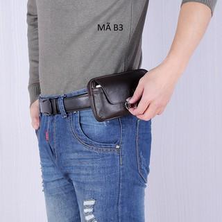 Bao da điện thoại đeo thắt lưng, bao da điện thoại đeo hông 2 ngăn Mã B3 - Mã B3 thumbnail