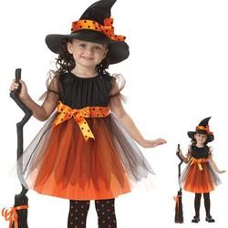Trang phục phù thủy CAM hóa trang Hallowen cho bé gái size 90 Mũ và Đầm-SKU-PTBG-va