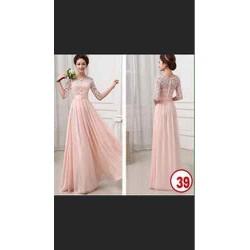 Đầm ren hồng dài