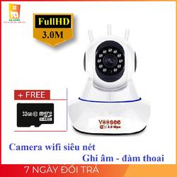 Camera IP Wifi Yoosee 3 RÂU 3.0 MP - Chất lượng 2304p x 1296p, xoay 360 độ, bảo động-ghi âm, đàm thoại 2 chiều- bảo hành 1 năm - 1 đổi 1-tại HQhome