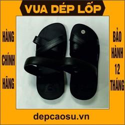 Dép cao su Nam Nữ 3 quai chéo màu đen  được làm thủ công của Vua dép lốp Phạm Quang Xuân