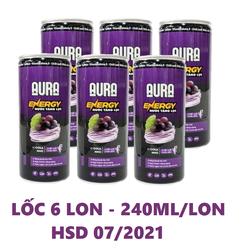 LỐC 6 LON NƯỚC TĂNG LỰC AURA ENERGY vị COLA NHO - 240ML/LON - HSD 07/2021
