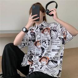 áo nư mi nữ form rộng unisex in hoạt tiết phim hoạt hình onepice cướp biển luffy
