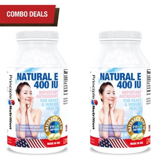 COMBO 2 - Viên uống bổ sung Vitamin E 400IU USA hỗ trợ hệ thống miễn dịch cơ thể tăng cường sức khỏe tim cải thiện tuần hoàn máu giảm tiến trình lão hoá da ngăn ngừa nếp nhăn duy trì vẻ đẹp tự nhiên và tươi sáng làn da - Hộp 240 viên - NE400IU-PRINCIPLENUTRITION(240sx2) thumbnail