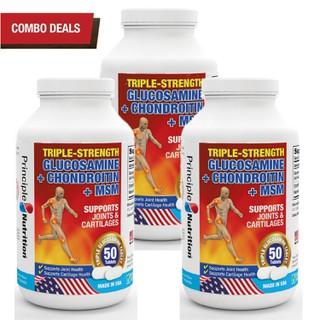 COMBO 3 - Viên hỗ trợ giảm đau TRIPLE-STRENGTH GLUCOSAMINE PRINCIPLE NUTRITION USA phục hồi chức năng sụn khớp xương chống lão hóa xương tăng tiết dịch ổ khớp giảm co thắt cơ bắp và giúp vận động linh hoạt - Hộp 50 viên - TG-PRINCIPLENUTRITION(50sx3) thumbnail