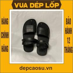 Dép cao su 3 quai ngang màu đen 5.0 được làm thủ công của Vua dép lốp Phạm Quang Xuân