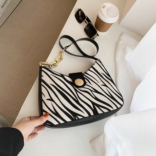 Túi xách nữ đeo vai quai phối xích bản to thời trang hoạ tiết da báo vằn ngựa - TX027 thumbnail