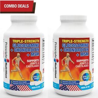 COMBO 2 - Viên hỗ trợ giảm đau TRIPLE-STRENGTH GLUCOSAMINE PRINCIPLE NUTRITION USA phục hồi chức năng sụn khớp xương chống lão hóa xương tăng tiết dịch ổ khớp giảm co thắt cơ bắp và giúp vận động linh hoạt - Hộp 240 viên - TG-PRINCIPLENUTRITION(240sx2) thumbnail