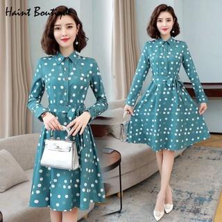 Đầm váy nữ Haint Boutique thiết kế dáng xòe eo thắt họa tiết bi xinh Da19 - da19. thumbnail