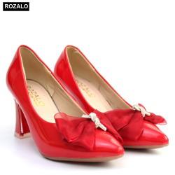Giày cao gót 7P da bóng đính nơ Rozalo R5871