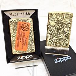 Vỏ Hột Quẹt , Bật Lửa  Zippo  USA (Mỹ) Có Tem Đỏ Khắc 5 Mặt Hình Thiên Thần Rất Đẹp