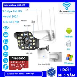 Camera IP Yoosee Ngoài Trời Xoay 360 Độ Full HD 1080P 3MPX - LED Quay đêm có màu - Camera IP