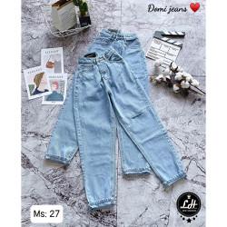 Quần baggy jean nữ rách gối 1 line Lê Huy Fashion kiểu 1 nút hàng đẹp MS 27