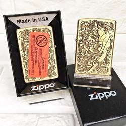 Vỏ Hột Quẹt , Bật Lửa  Zippo  USA (Mỹ) Có Tem Đỏ Khắc 5 Mặt Hình Cô Gái Rất Đẹp