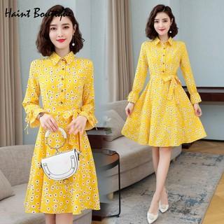 Đầm sơ mi tay cách điệu Haint Boutique màu sắc trẻ trung họa tiết hoa cúc da21 - da21, thumbnail