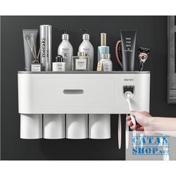Kệ nhà tắm đa năng dán tường, hộp để bàn chải đánh răng nhả kem tự động tặng kèm ly hít từ tính (4 cốc, 1 cốc) , OENON cao cấp GD456-HBCOENON