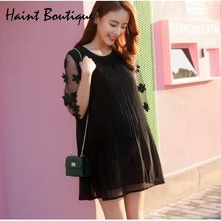 Đầm suông, váy bầu xếp ly Haint Boutique phối ren da36 - da36. thumbnail