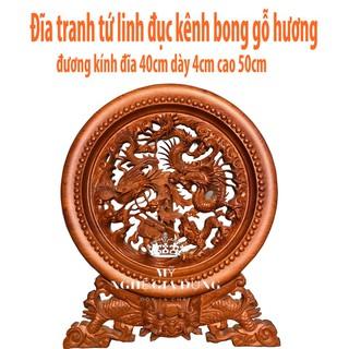 Tranh đĩa tứ linh gỗ hương nguyên khối đục kênh bong cỡ đĩa 40cm - 5741378808 thumbnail